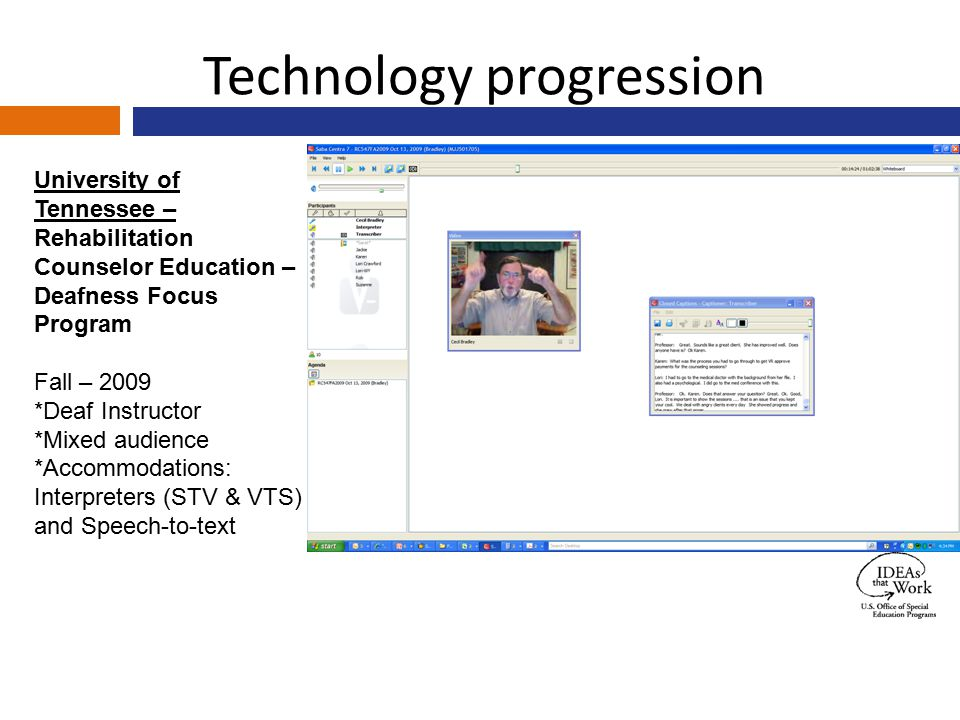 Technology progression University of Tennessee – Rehabilitation Counselor Education – Deafness Focus Program Fall – 2009 *Deaf Instructor *Mixed audie