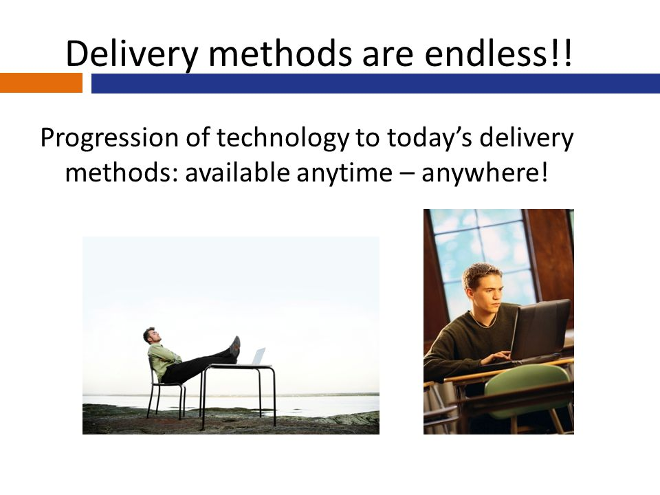 Progression of technology to today's delivery methods: available anytime – anywhere.