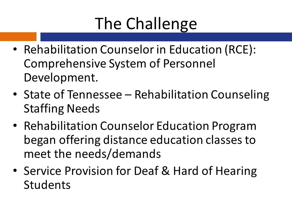 The Challenge Rehabilitation Counselor in Education (RCE): Comprehensive System of Personnel Development.