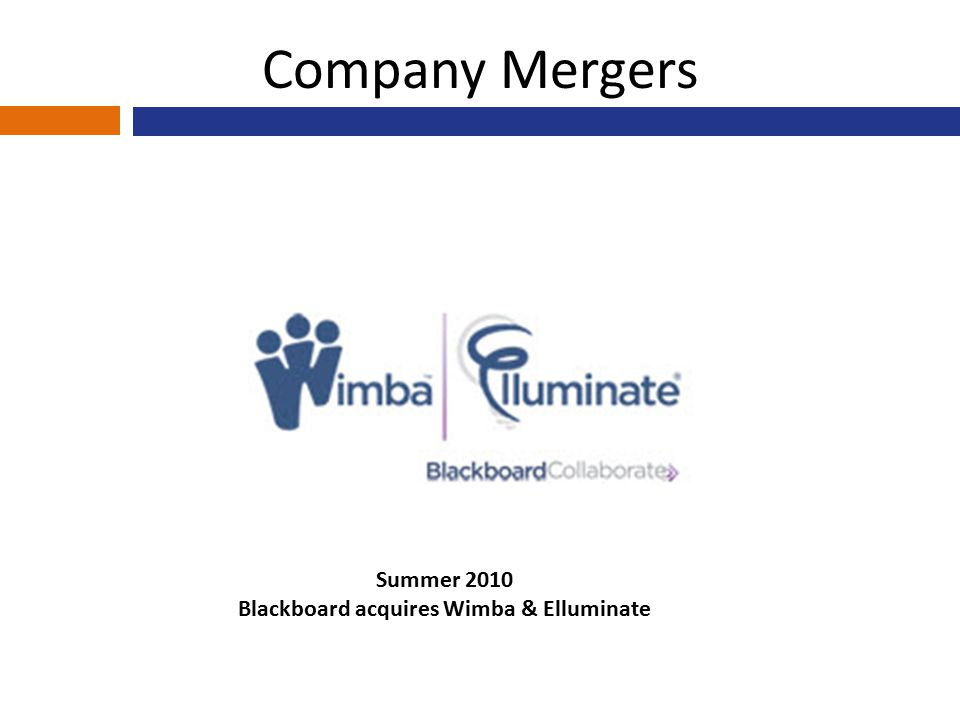 Company Mergers Summer 2010 Blackboard acquires Wimba & Elluminate