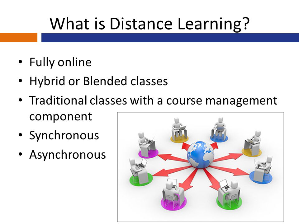 What is Distance Learning? Fully online Hybrid or Blended classes Traditional classes with a course management component Synchronous Asynchronous
