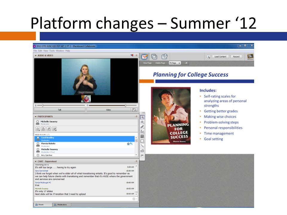 Platform changes – Summer '12