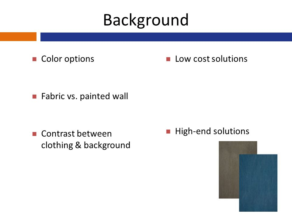 Background Color options Fabric vs.