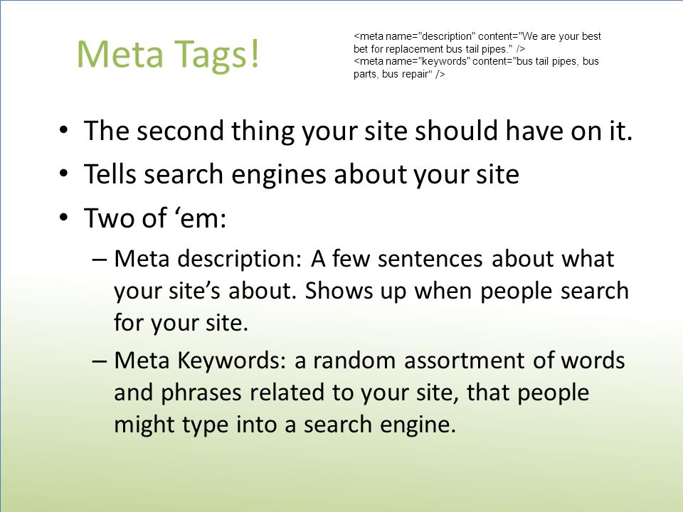 Meta Tags. The second thing your site should have on it.