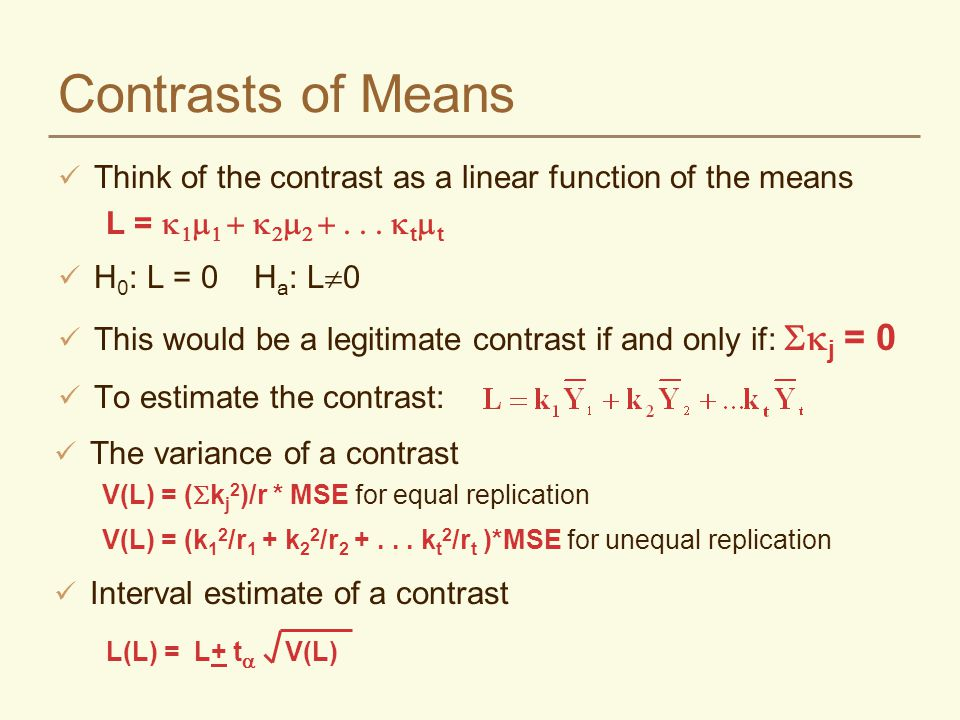Orthogonal Contrasts With t treatments, it is possible to form t-1 contrasts that are statistically independent of each other (i.e., one contrast conveys no information about the other) In order to be statistically independent, they must be orthogonal Contrasts are orthogonal if and only if the sum of the products of the coefficients equals 0 Where j = the j th mean in the linear contrast