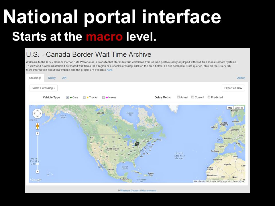 National portal interface Starts at the macro level.
