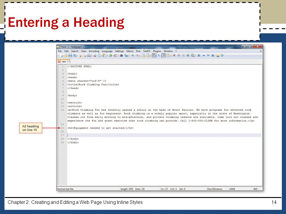 Chapter 2: Creating and Editing a Web Page Using Inline Styles14 Entering a Heading