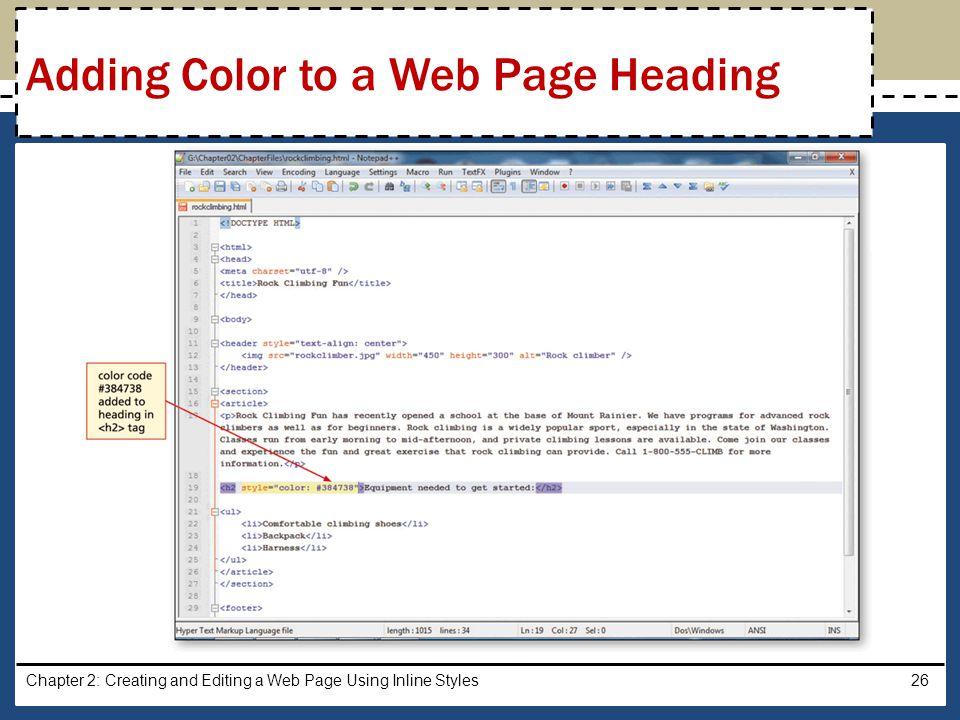 Chapter 2: Creating and Editing a Web Page Using Inline Styles26 Adding Color to a Web Page Heading