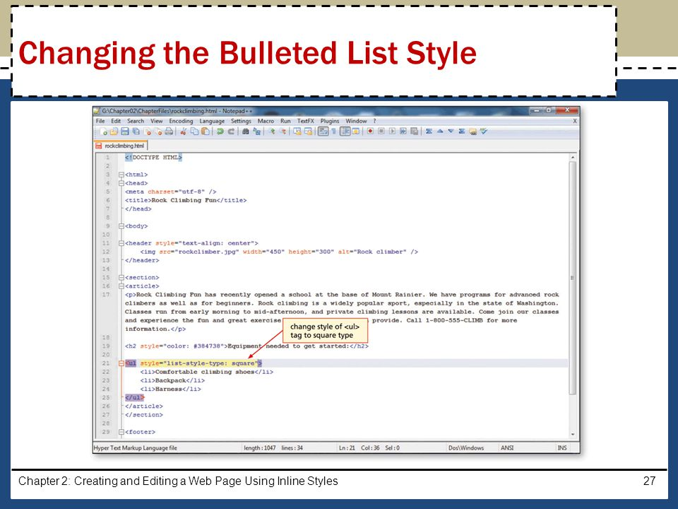 Chapter 2: Creating and Editing a Web Page Using Inline Styles27 Changing the Bulleted List Style
