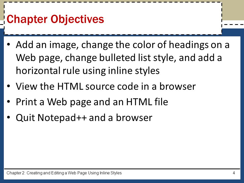 Add an image, change the color of headings on a Web page, change bulleted list style, and add a horizontal rule using inline styles View the HTML sour