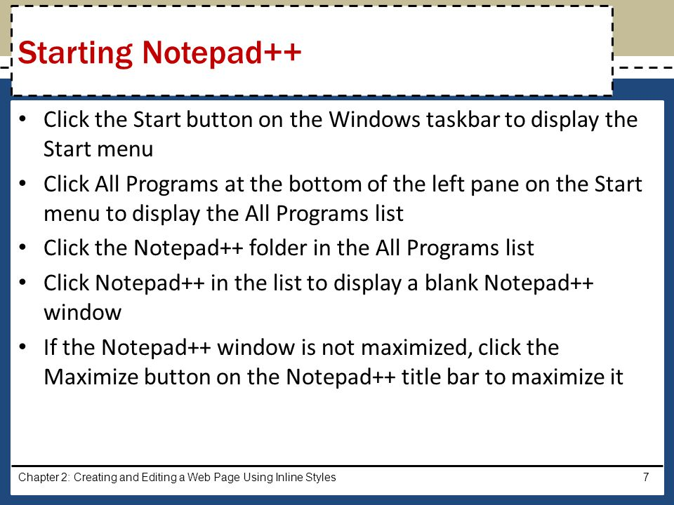 With a USB flash drive connected to one of the computer's USB ports, click File on the Notepad++ menu bar Click Save As on the File menu to display the Save As dialog box Type the desired Web page name in the File name text box to change the file name.