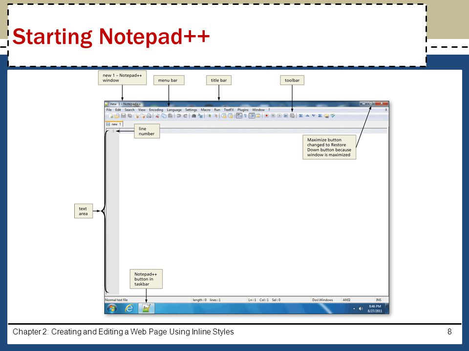 Click View on the menu bar If Word Wrap does not have a check mark next to it, click Word Wrap Chapter 2: Creating and Editing a Web Page Using Inline Styles9 Enabling Word Wrap in Notepad++