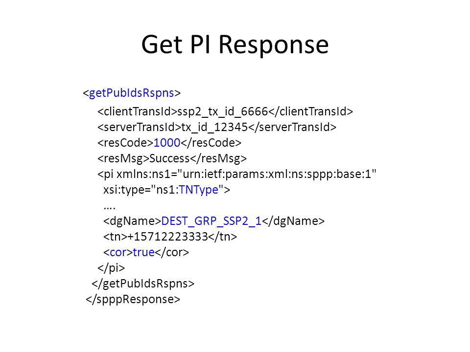 Get PI Response ssp2_tx_id_6666 tx_id_12345 1000 Success …. DEST_GRP_SSP2_1 +15712223333 true