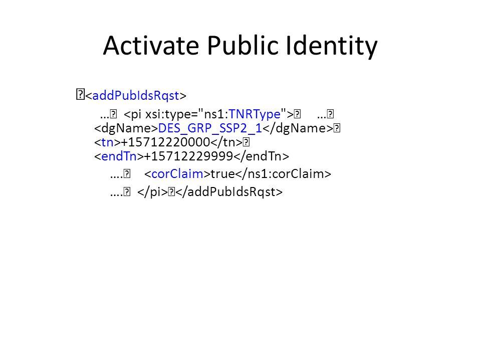 Activate Public Identity … … DES_GRP_SSP2_1 +15712220000 +15712229999 …. true ….