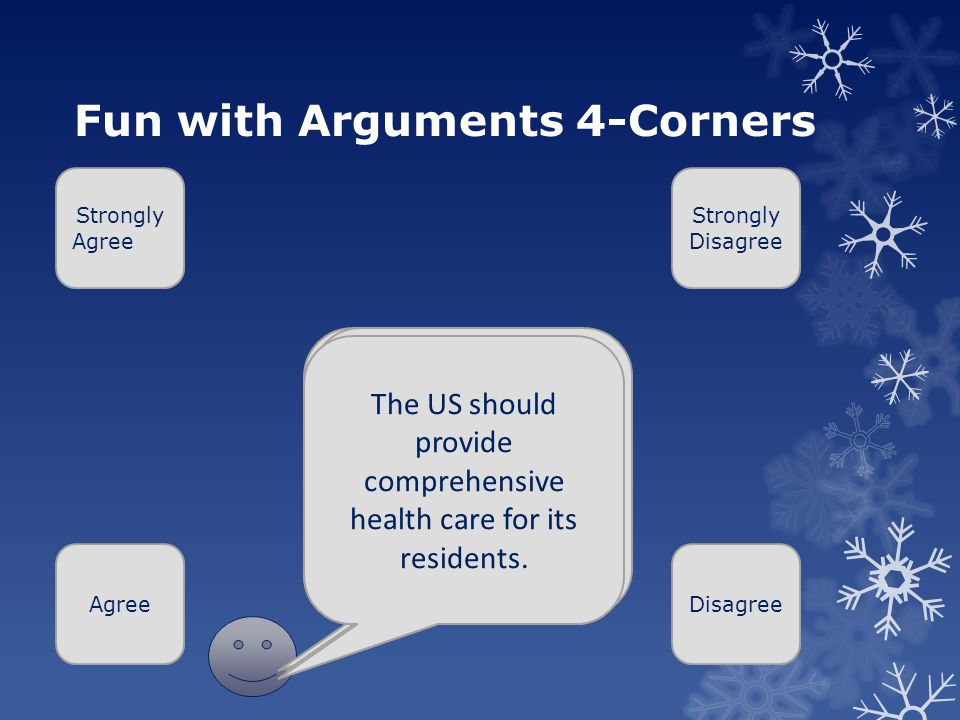 Fun with Arguments 4-Corners Strongly Agree AgreeDisagree Strongly Disagree Medical marijuana should be legal Violent Video games contribute to youth