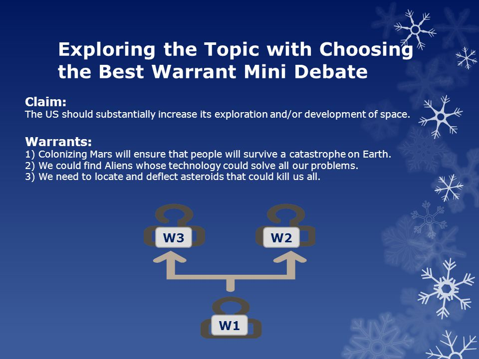 Exploring the Topic with Choosing the Best Warrant Mini Debate Claim: The US should substantially increase its exploration and/or development of space.