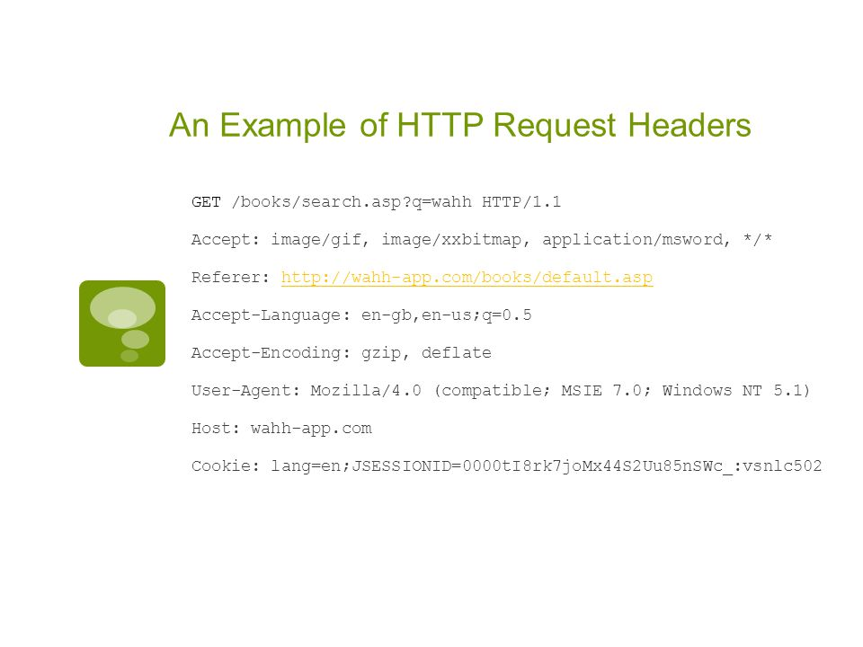 An Example of HTTP Request Headers GET /books/search.asp?q=wahh HTTP/1.1 Accept: image/gif, image/xxbitmap, application/msword, */* Referer: http://wa