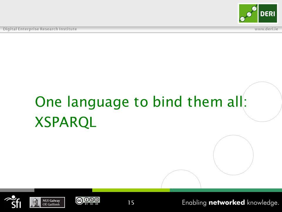 Digital Enterprise Research Institute www.deri.ie One language to bind them all: XSPARQL 15
