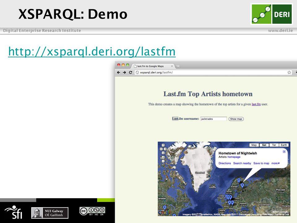Digital Enterprise Research Institute www.deri.ie XSPARQL: Demo 27 http://xsparql.deri.org/lastfm