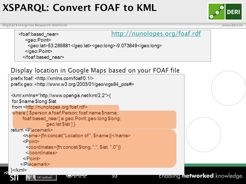 Digital Enterprise Research Institute www.deri.ie prefix foaf: prefix geo: { for $name $long $lat from where { $person a foaf:Person; foaf:name $name; foaf:based_near [ a geo:Point; geo:long $long; geo:lat $lat ] } return {fn:concat( Location of , $name)} {fn:concat($long, , , $lat, ,0 )} } Display location in Google Maps based on your FOAF file 30 53.289881 -9.073849 http://nunolopes.org/foaf.rdf XSPARQL: Convert FOAF to KML