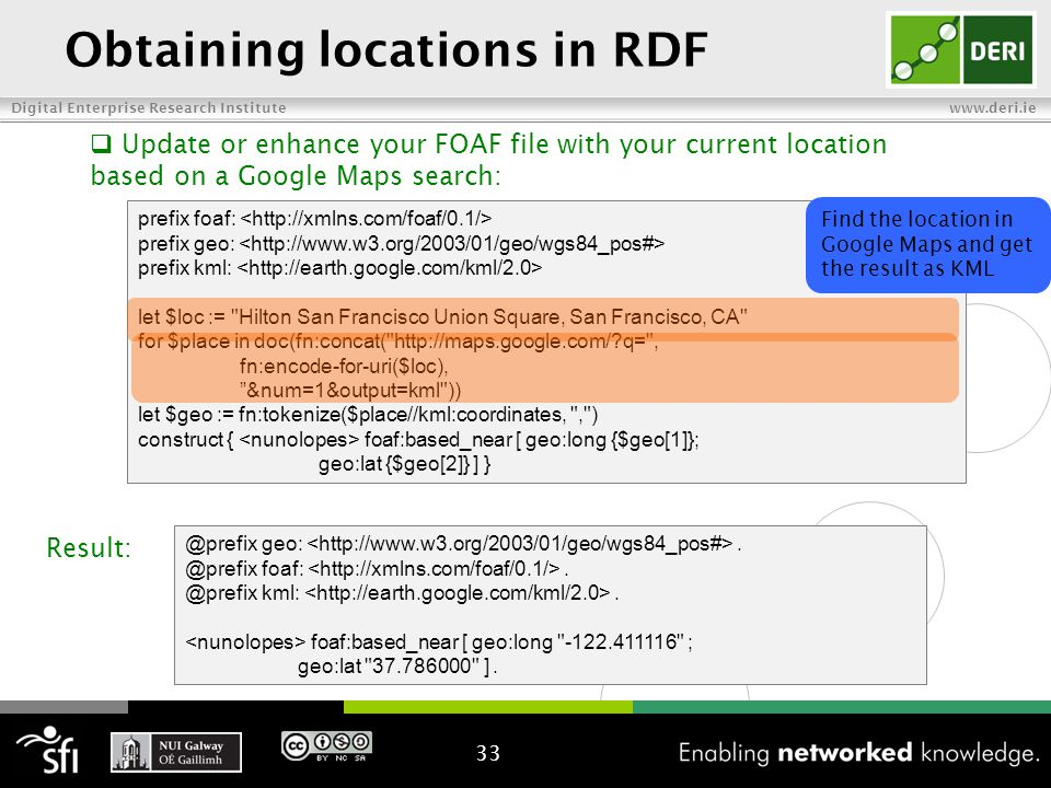 Digital Enterprise Research Institute www.deri.ie Obtaining locations in RDF prefix foaf: prefix geo: prefix kml: let $loc := Hilton San Francisco Union Square, San Francisco, CA for $place in doc(fn:concat( http://maps.google.com/ q= , fn:encode-for-uri($loc), &num=1&output=kml )) let $geo := fn:tokenize($place//kml:coordinates, , ) construct { foaf:based_near [ geo:long {$geo[1]}; geo:lat {$geo[2]} ] } 33  Update or enhance your FOAF file with your current location based on a Google Maps search: @prefix geo:.