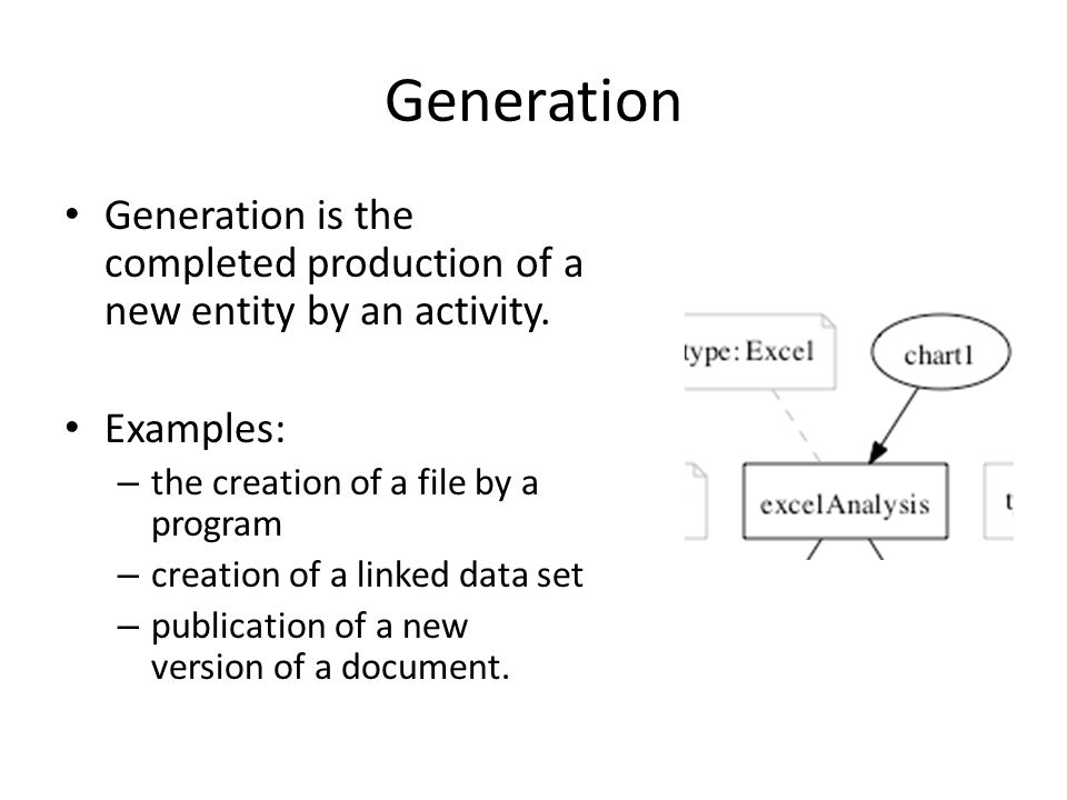 Generation Generation is the completed production of a new entity by an activity. Examples: – the creation of a file by a program – creation of a link
