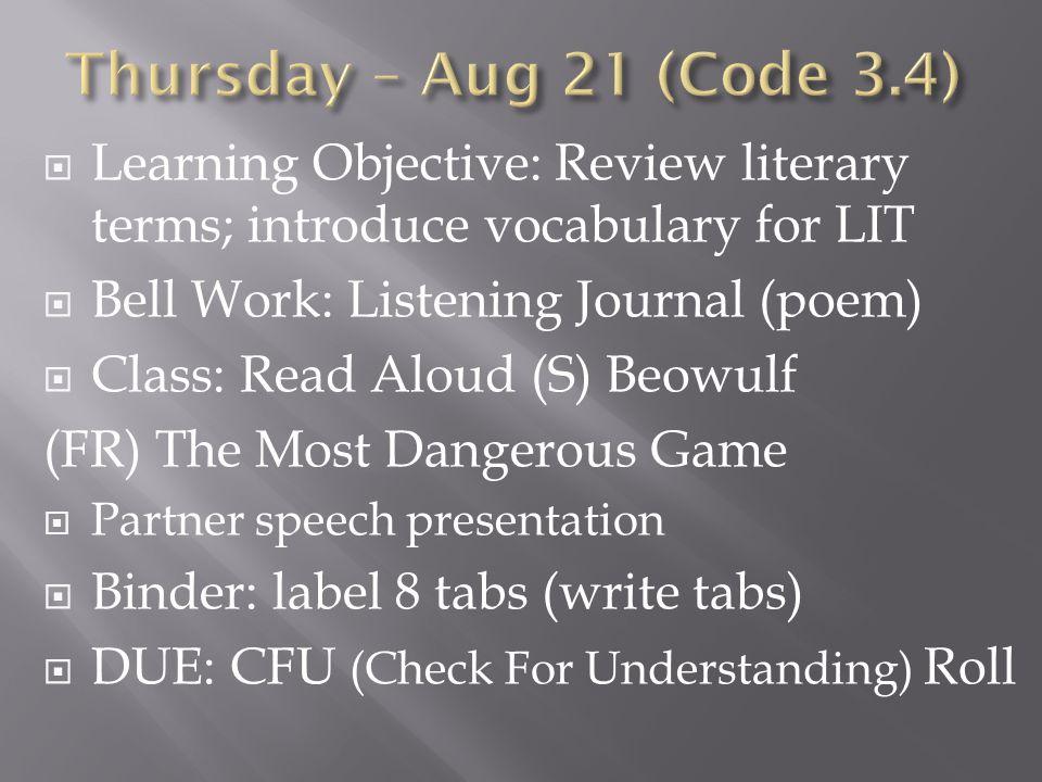  Bell Work: FREE  Class: Quiz – W3; Vocab for Week 4 (sentence, story, comic)  Homework: Creative Vocab (Sentences)  Coming Up: Week 4 partner speech, essay review, teacher conference