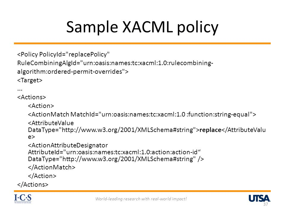 Sample XACML policy <Policy PolicyId=