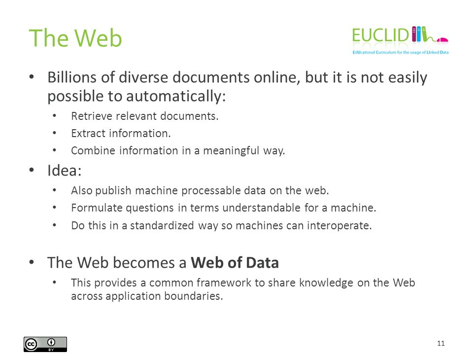 The Web 11 Billions of diverse documents online, but it is not easily possible to automatically: Retrieve relevant documents.