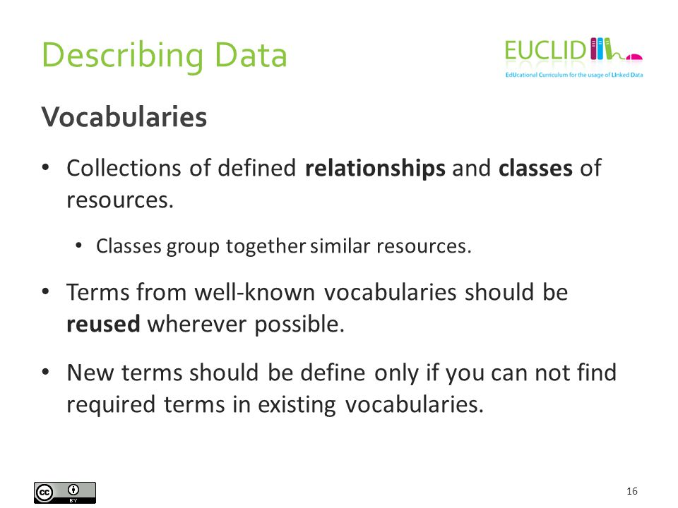 Describing Data 16 Vocabularies Collections of defined relationships and classes of resources.