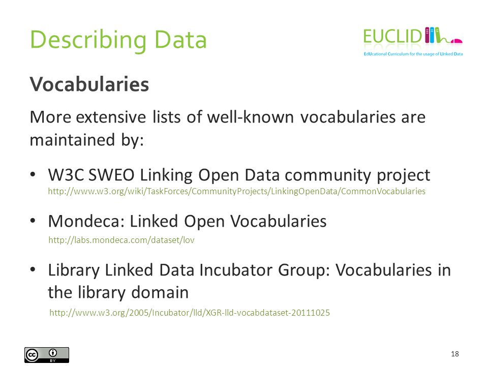 Describing Data 18 Vocabularies More extensive lists of well-known vocabularies are maintained by: W3C SWEO Linking Open Data community project http://www.w3.org/wiki/TaskForces/CommunityProjects/LinkingOpenData/CommonVocabularies Mondeca: Linked Open Vocabularies http://labs.mondeca.com/dataset/lov Library Linked Data Incubator Group: Vocabularies in the library domain http://www.w3.org/2005/Incubator/lld/XGR-lld-vocabdataset-20111025