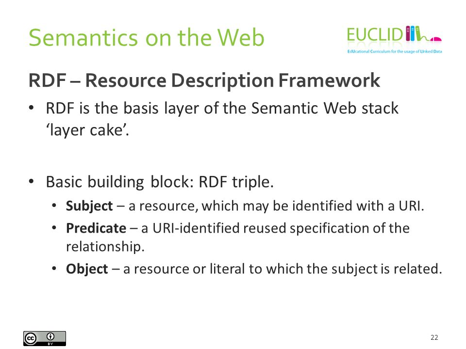Semantics on the Web 22 RDF – Resource Description Framework RDF is the basis layer of the Semantic Web stack 'layer cake'.