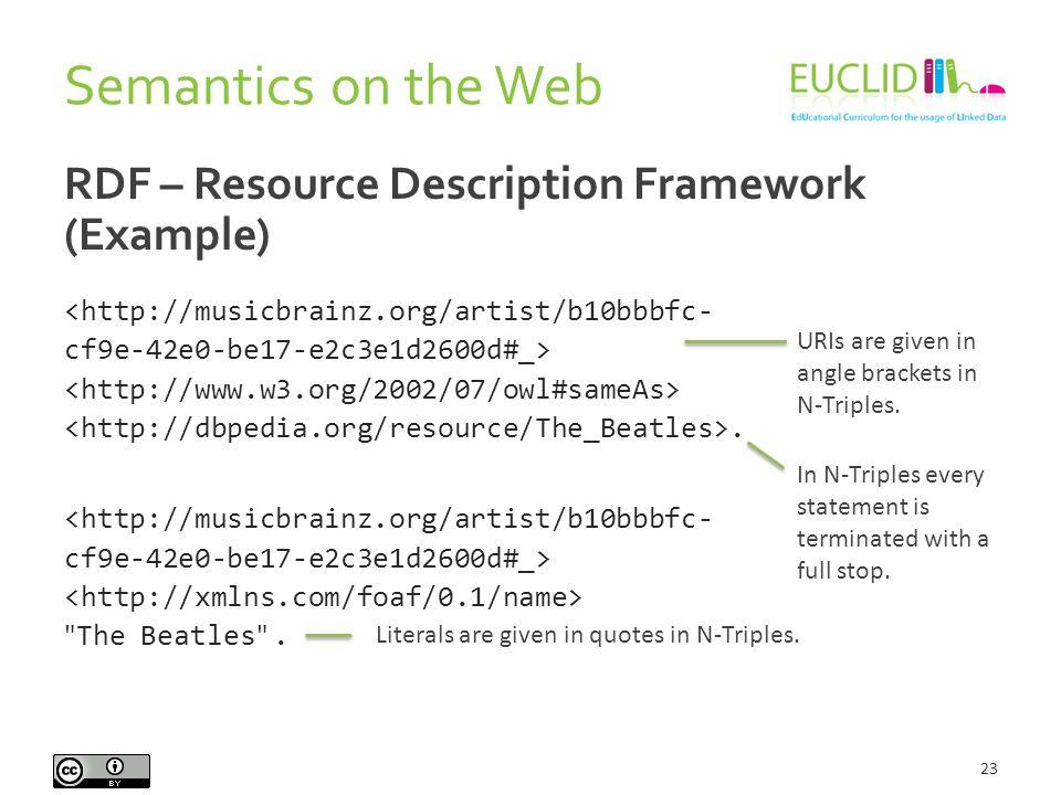 Semantics on the Web 23 RDF – Resource Description Framework (Example) <http://musicbrainz.org/artist/b10bbbfc- cf9e-42e0-be17-e2c3e1d2600d#_>.