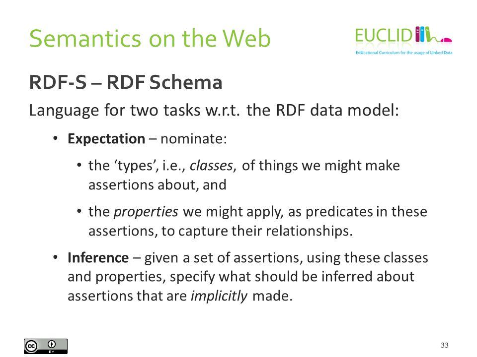 Semantics on the Web 33 RDF-S – RDF Schema Language for two tasks w.r.t.