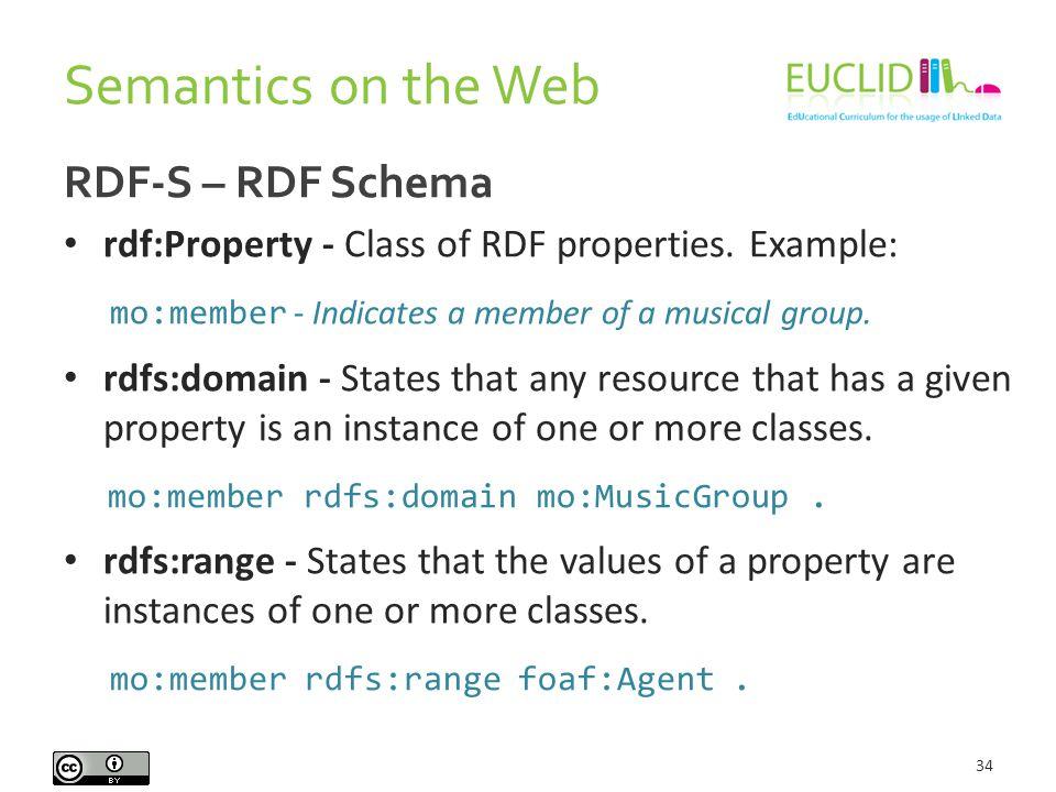 Semantics on the Web 34 RDF-S – RDF Schema rdf:Property - Class of RDF properties. Example: mo:member - Indicates a member of a musical group. rdfs:do