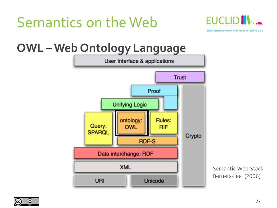 Semantics on the Web 37 Semantic Web Stack Berners-Lee (2006) OWL – Web Ontology Language