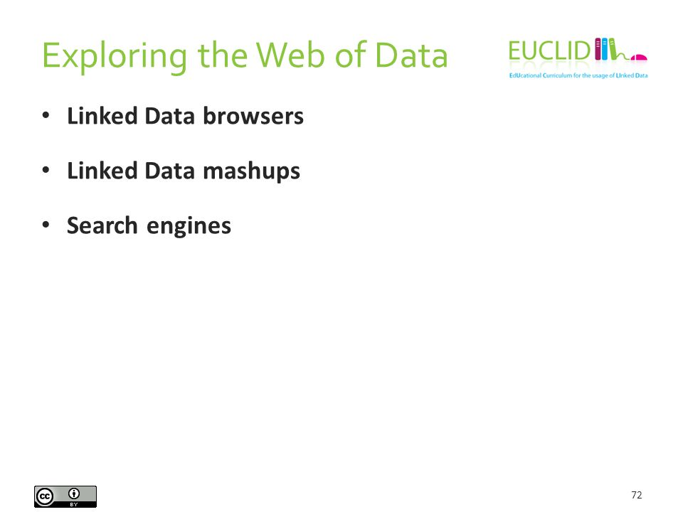 Exploring the Web of Data 72 Linked Data browsers Linked Data mashups Search engines