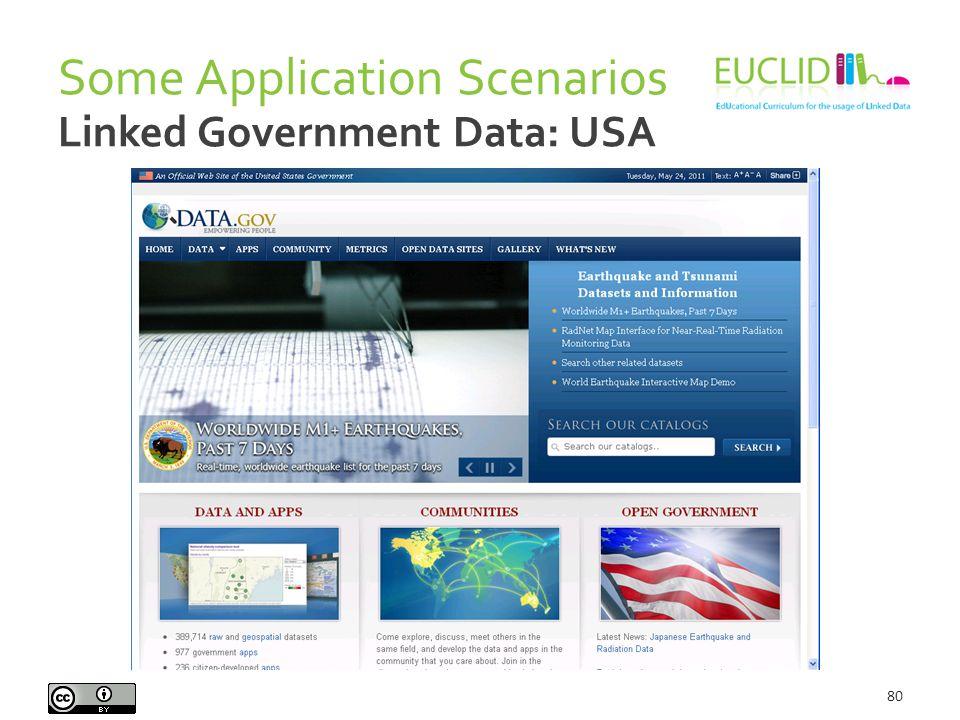 Some Application Scenarios 80 Linked Government Data: USA
