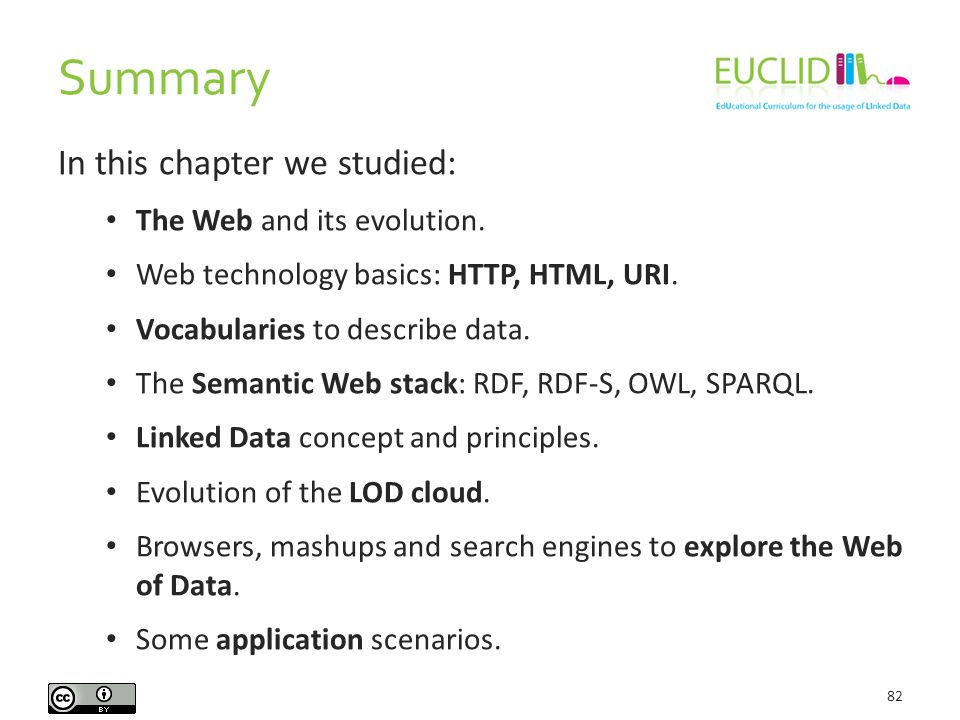 Summary 82 In this chapter we studied: The Web and its evolution.