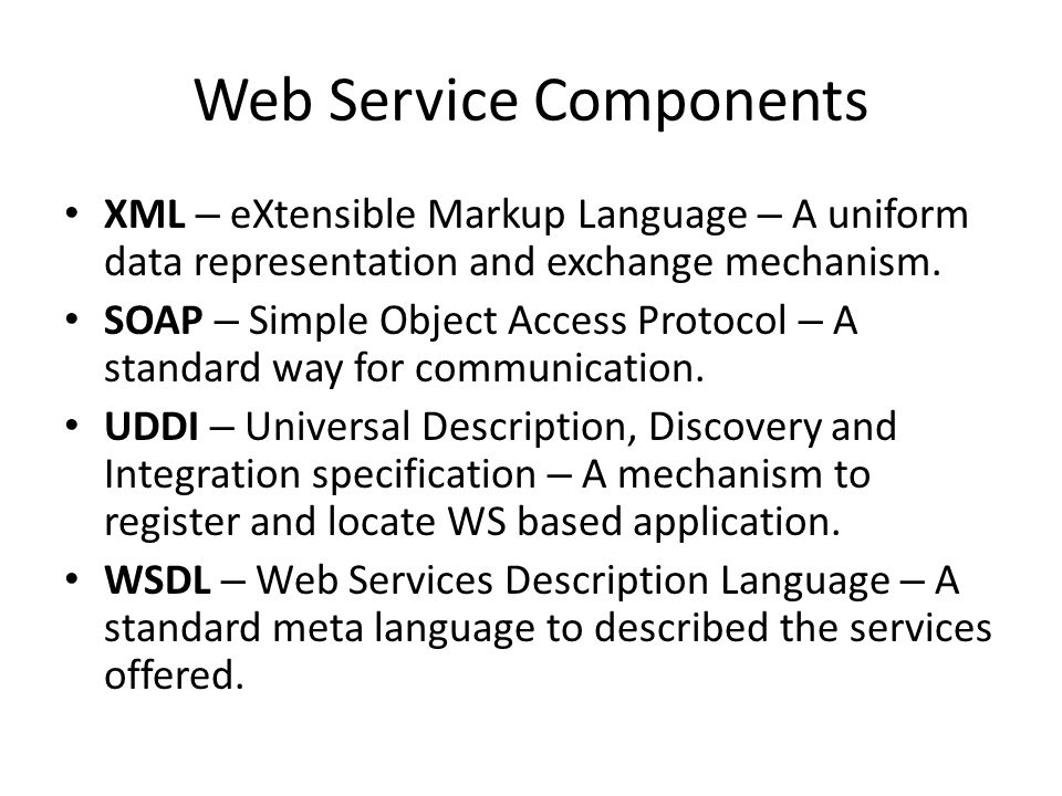 Web Service Model The Web Services architecture is based upon the interactions between three roles: – Service provider – Service registry – Service requestor The interactions involve the: – Publish operations – Find operation – Bind operations