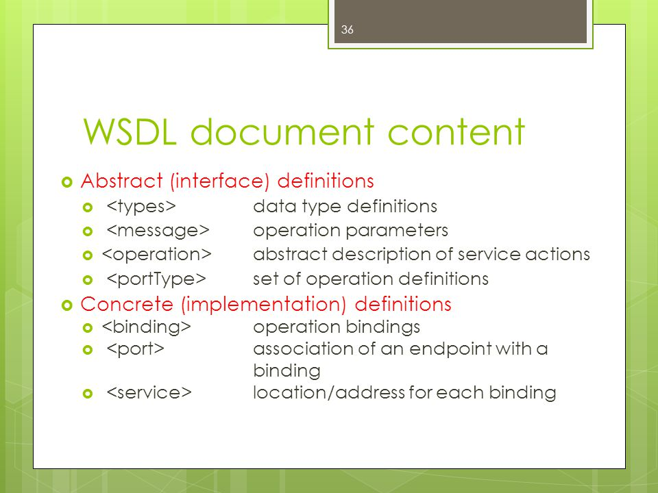 WSDL document content  Abstract (interface) definitions  data type definitions  operation parameters  abstract description of service actions  se