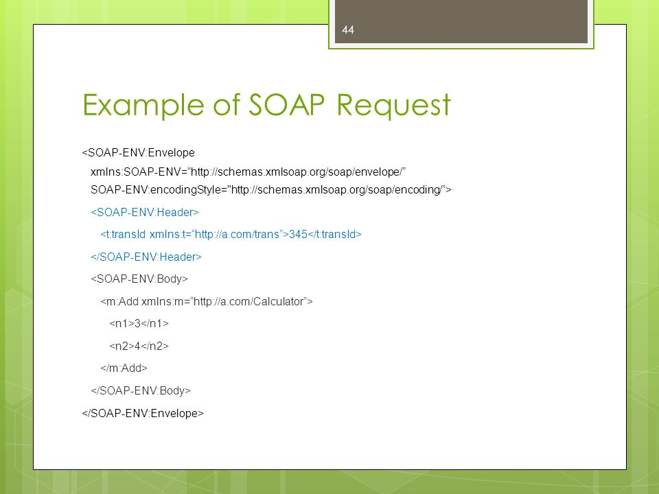 "Example of SOAP Request <SOAP-ENV:Envelope xmlns:SOAP-ENV=""http://schemas.xmlsoap.org/soap/envelope/"" SOAP-ENV:encodingStyle="
