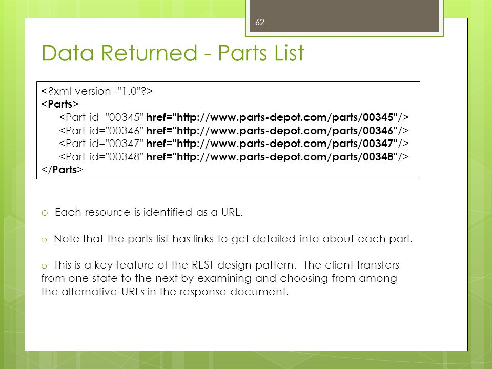 Data Returned - Parts List o Each resource is identified as a URL. o Note that the parts list has links to get detailed info about each part. o This i