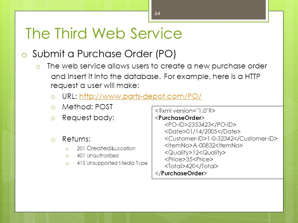 The Third Web Service o Submit a Purchase Order (PO) o The web service allows users to create a new purchase order and insert it into the database. Fo