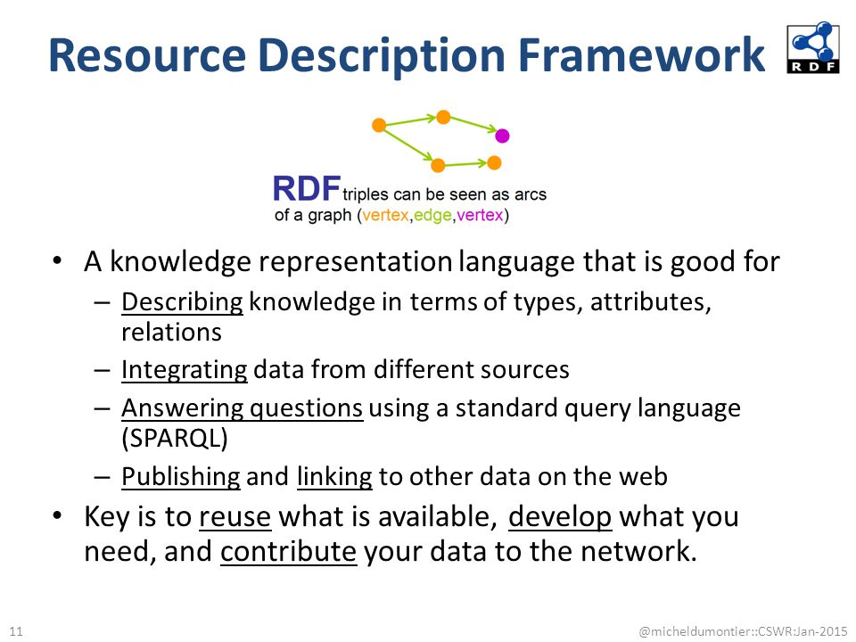 Resource Description Framework A knowledge representation language that is good for – Describing knowledge in terms of types, attributes, relations –