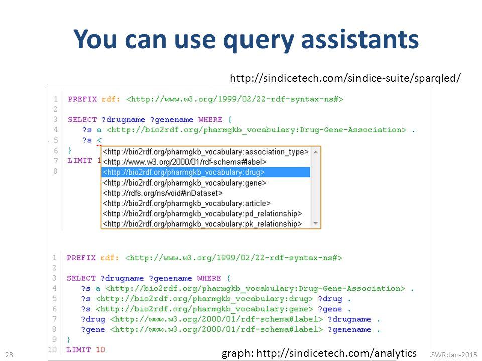 You can use query assistants @micheldumontier::CSWR:Jan-2015 http://sindicetech.com/sindice-suite/sparqled/ graph: http://sindicetech.com/analytics 28