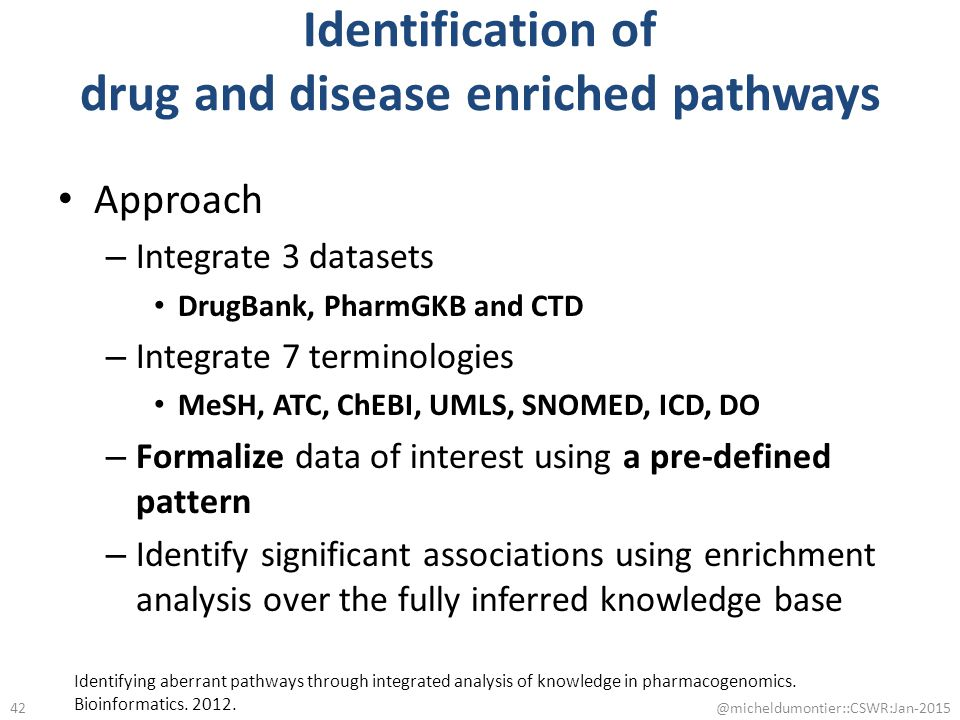 Identification of drug and disease enriched pathways Approach – Integrate 3 datasets DrugBank, PharmGKB and CTD – Integrate 7 terminologies MeSH, ATC,