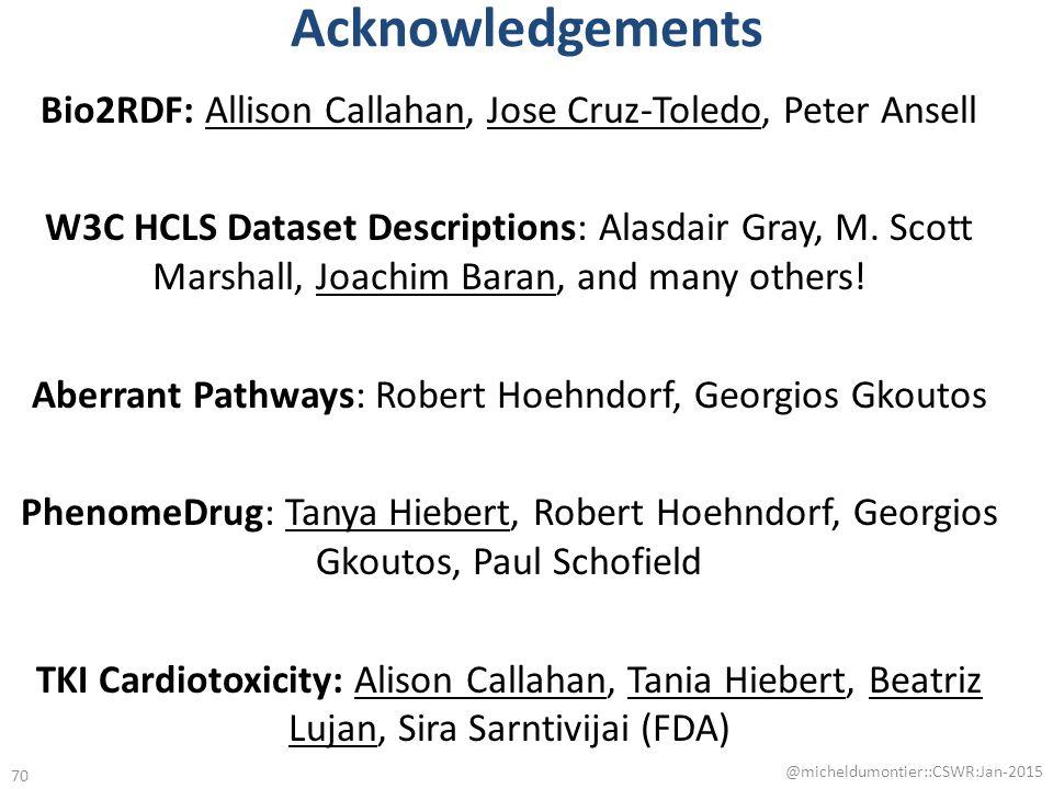 Acknowledgements Bio2RDF: Allison Callahan, Jose Cruz-Toledo, Peter Ansell W3C HCLS Dataset Descriptions: Alasdair Gray, M.