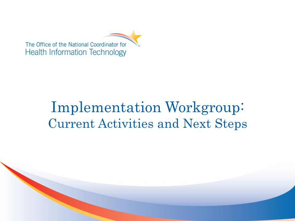 Implementation Workgroup: Current Activities and Next Steps