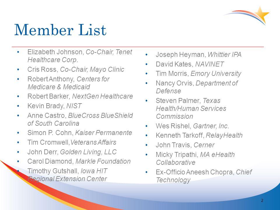 Member List Elizabeth Johnson, Co-Chair, Tenet Healthcare Corp.
